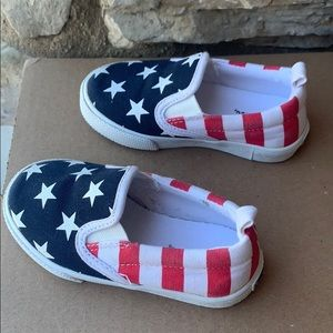 Gymboree red, white & blue slip-on shoes, 7